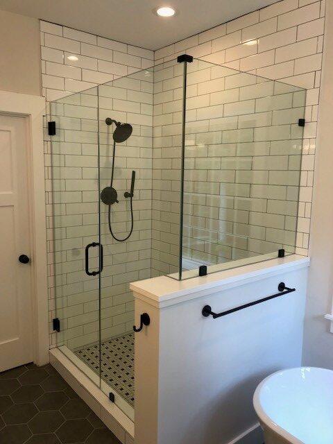 White Subway Tile Black Hardware Custom Frameless Shower Door