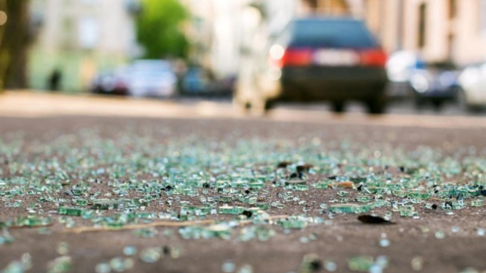 broken car glass road
