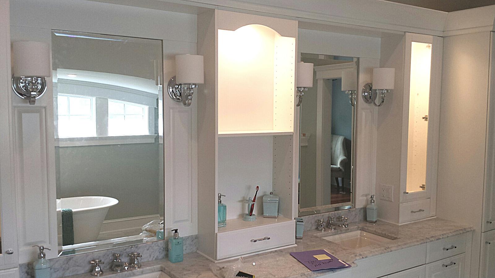 custom double bathroom mirror